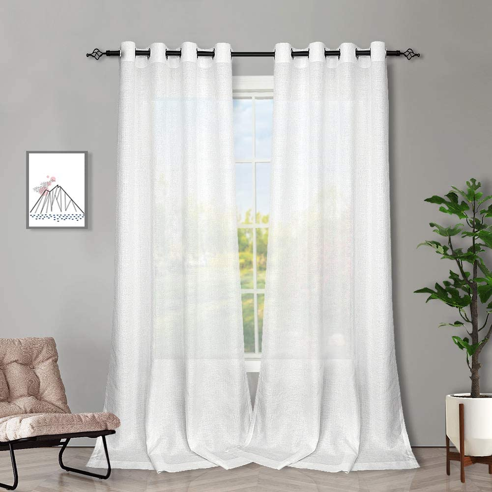 Melodieux White Semi Sheer Curtains 84 Inches Long for Living Room - Linen Look Bedroom Grommet Top Voile Drapes, 52 x 84 Inch (2 Panels)