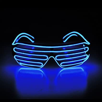 fe960c8e0e Image Unavailable. Image not available for. Color  Aquat Shutter El Wire  Neon Rave Glasses Light Up Flashing LED Sunglasses Voice Activated Costumes  For