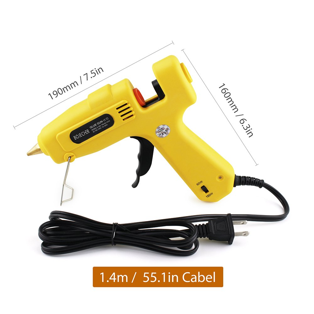 Hot Glue Gun, BOJECHER Full Size 60/100W Dual Power Hot Melt Glue Gun with 20pcs Glue Sticks (0.43 x 7.8) High Temperature Melt Adhesive Glue Gun Kit for Home DIY Craft Projects and Industrial Repair by BOJECHER (Image #2)