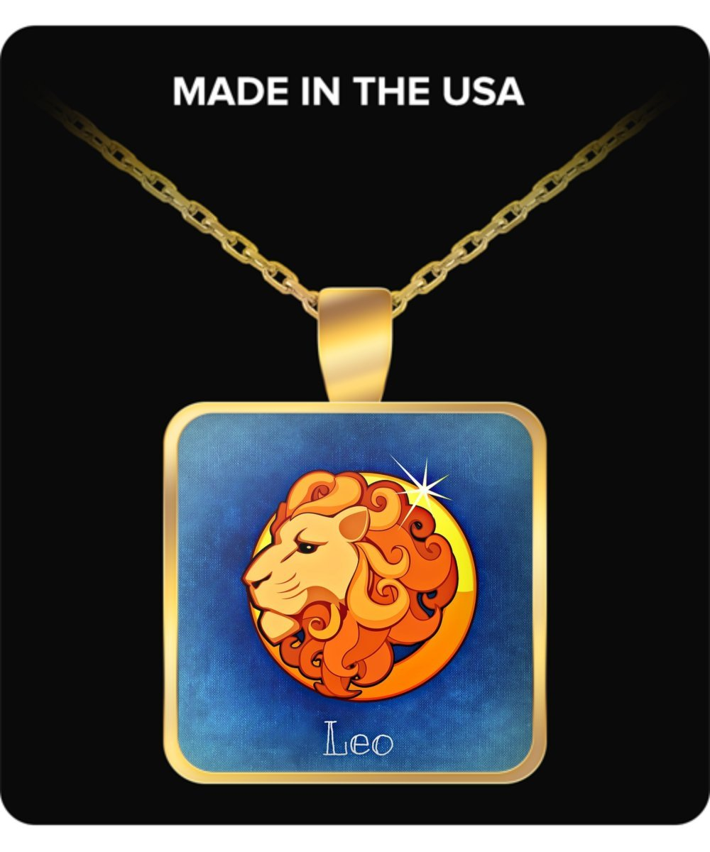 Beautiful Leo July 22 August Square Pendant Gold Necklace
