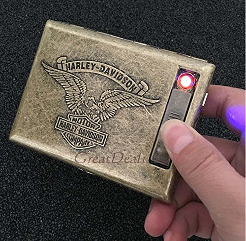 Antique Gold USB Rechargeable Windproof Metal Electric Built-in Flame Less Lighter Cigarette Cigar Storage Case (FREE CAR sticky pad for Phone PDA MP3 MP4) GD-1377