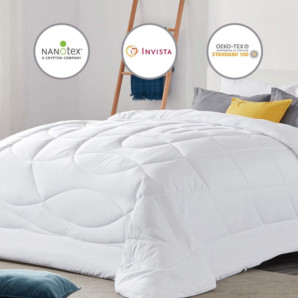 SLEEP ZONE All Season Comforter Down Alternative Soft Temperature Regulation Reversible Duvet, White, Full/Queen