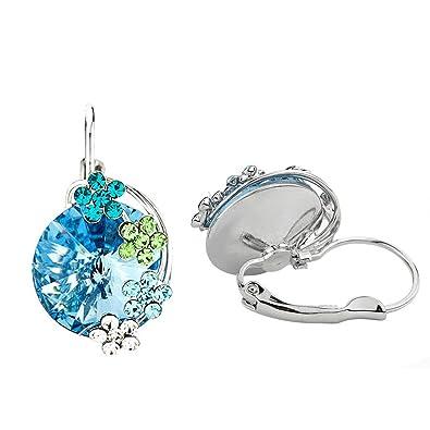 13f64d205 Amazon.com: Neoglory Jewelry Platinum Plated Big Bold Blue Crystal ...