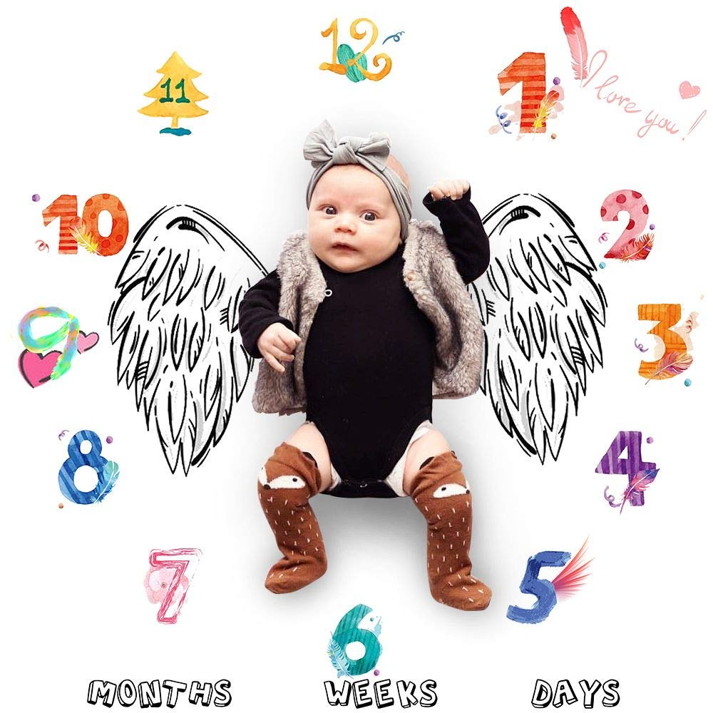Baby Angel Wing fiore stampato Swaddle Wrap neonato Passeggino biancheria da letto mensile crescita numero fotografia Prop