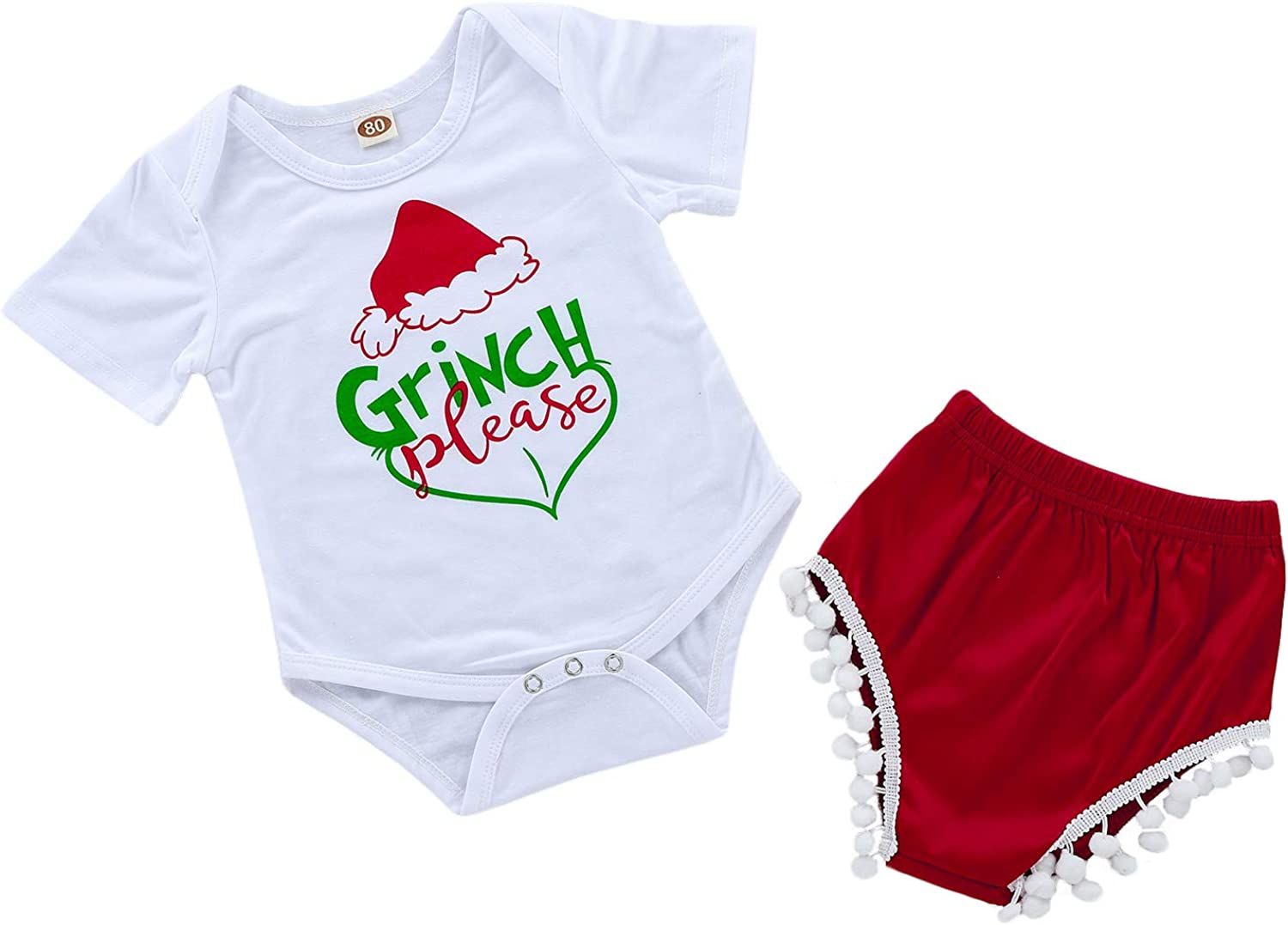 Infant Baby Girls Xmas 2pcs Clothes Set Toddler Baby Grinch Please Funny Letter Printed Bodysuit Matching Shorts Outfits