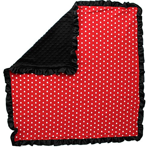 Dear Baby Gear Baby Blankets, Polka Dots White on Red, Black Minky