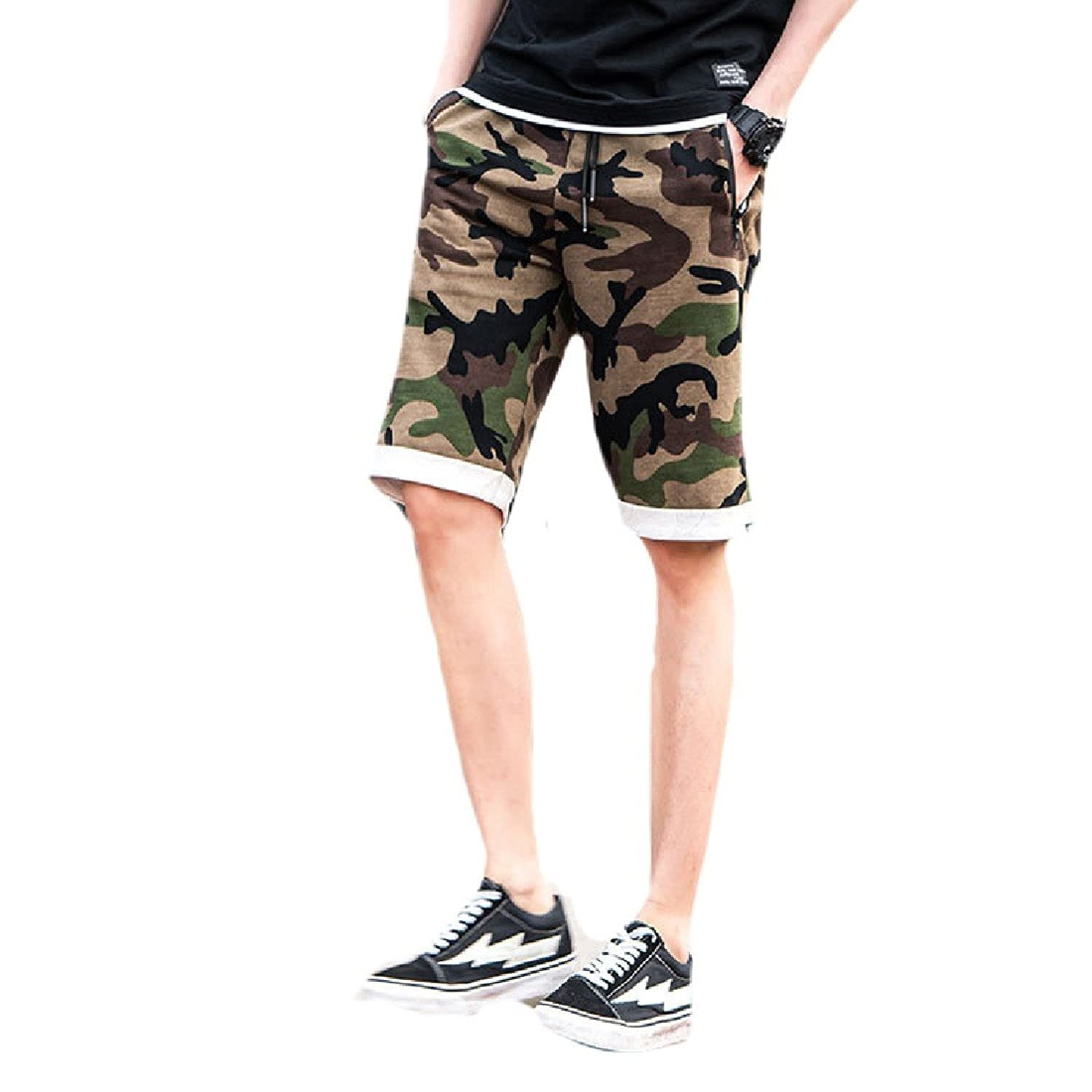282434a637 Zimaes-Men Summer Loose Camouflage Athletic Running Sports Casual Leisure Sport  Pants Summer Shorts Pants