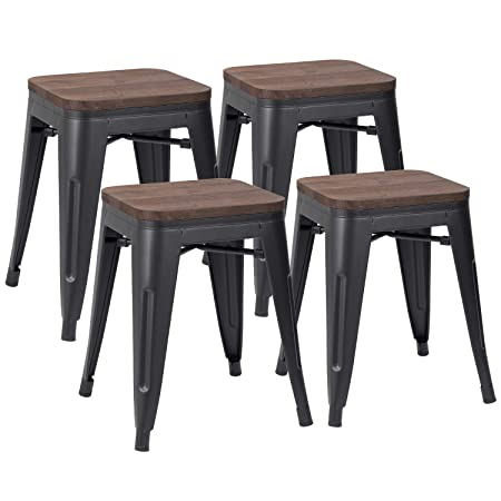 JUMMICO Metal Bar Stools Indoor-Outdoor Stackable Modern 18inches Metal Counter Height Industrial Backless Barstools Set of 4 with Wooden Seat Black