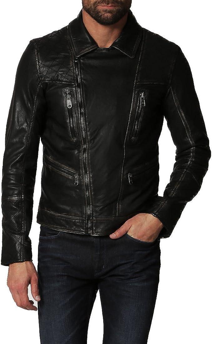 Kingdom Leather Mens Genuine Lambskin Leather Jacket Slim Fit Biker Motorcycle Jacket X152