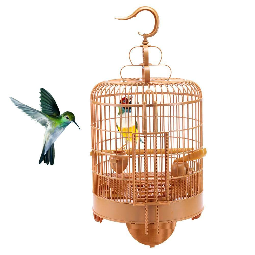 ZNN Bird Cage - Portable Foldable Round Birds Travel Cage, Hanging Vintage Design, Rugged Plastic, Wear-Resistant, Easy to Assemble and Clean, 653833cm by ZNN