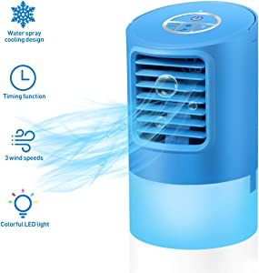 Vosarea Portable Air Conditioner Fan, Mini Personal Evaporative Air Cooler with 3 Wind Speeds Small Desktop Cooling Fan Super Quiet Personal Table Fan Compact Air Cooler with US Plug (Blue)