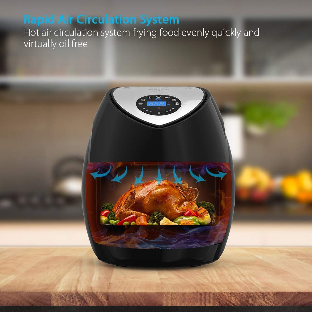 Air Fryer 5.8 Quart 5.5L XXXL 1700w, homgeek Digital Air Fryer Touch Screen 7 in 1 with Cookbook for Family of 5 include Temperature Control, 60min Timer, Non-stick Dishwashable Basket