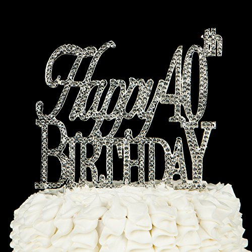 Happy-40th-Birthday-Cake-Topper-40-Party-Supplies-Decoration-Ideas-Silver-Happy-40th-Birthday-Silver