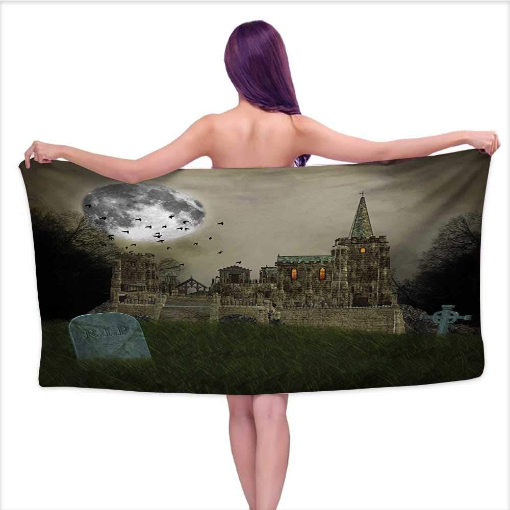 Onefzc Home Towels Gothic Old Village and Graves with Medieval Castle and Full Moon Birds Fog Horror Art for Bathroom, Shower Towel, Gym W63 x L31 Beige Green