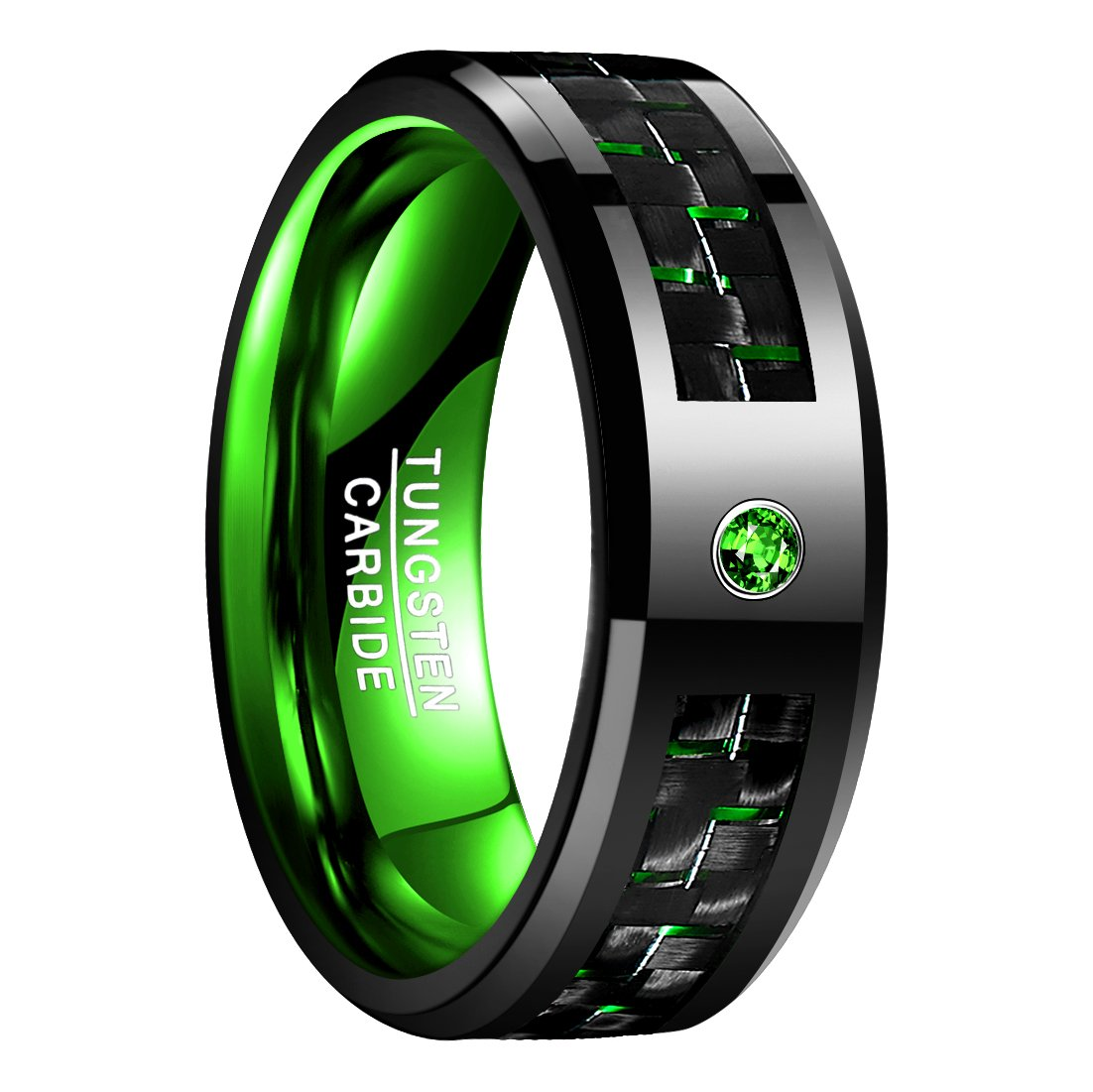 Nuncad 8mm Black and Green Carbon Fiber Inlay Tungsten Carbide Ring Engagement Wedding Band Size 10