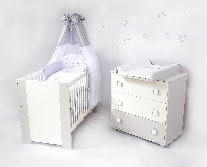 Babyzimmer De Luxe sparset incl. Babybett , Wickelkommode , Ausstattung - Komplettset