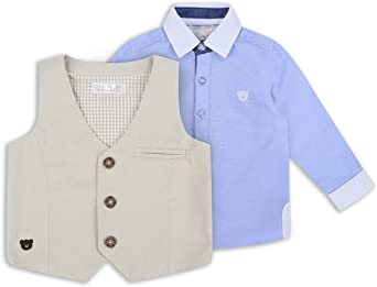 The Essential One Bebé Infantil Niños - Camisa y Chaleco - Azul - EOT216