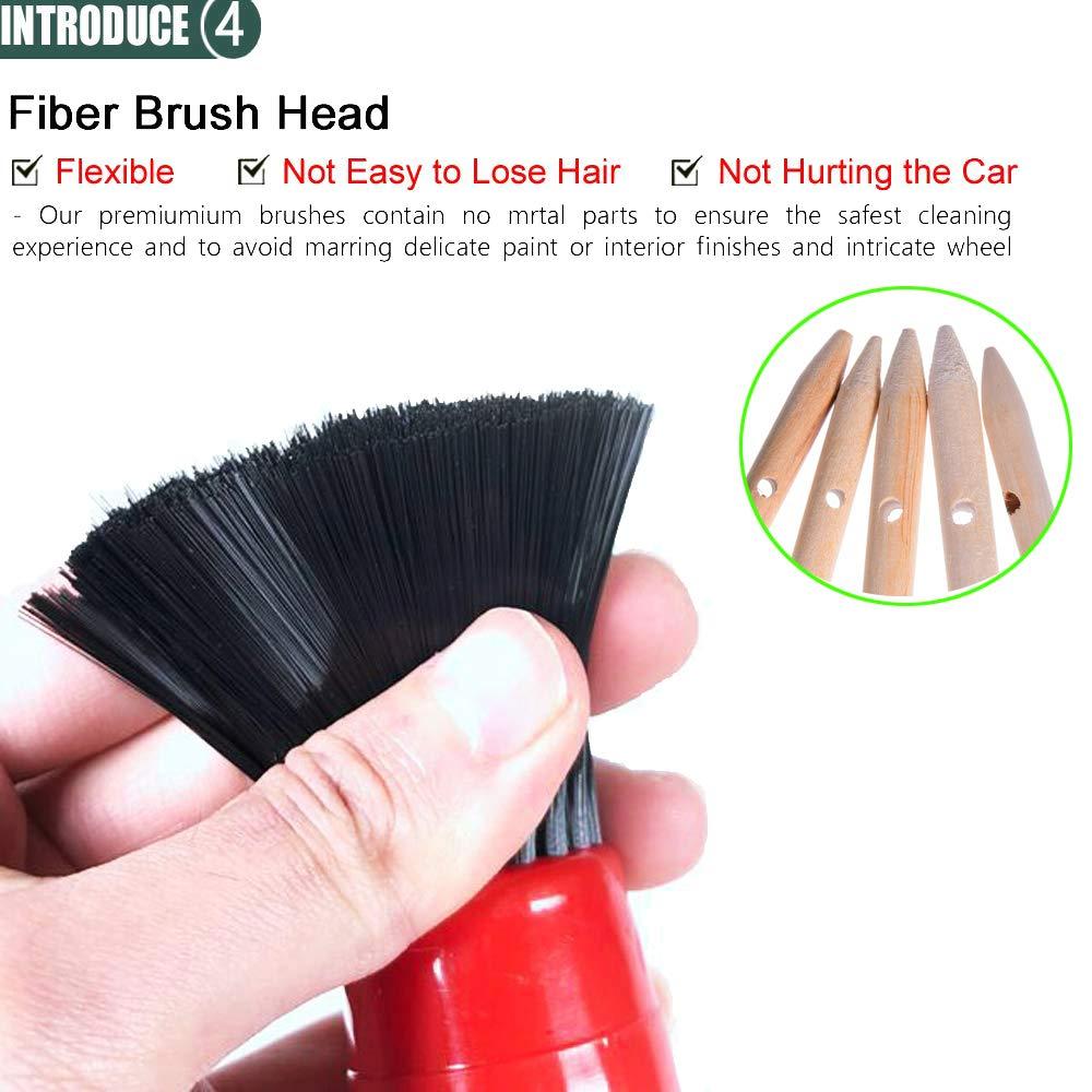 estilo1 Interior Fancartuk Cepillo de Limpieza para Limpieza de Tejidos Exterior cerdas Suaves Style2 Juego de 5 cepillos de Limpieza para Coche Cuero