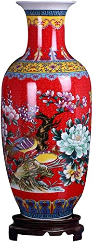 ufengke Jingdezhen Large Ceramic Floor Vase,Flower Vase Handmade Home Decorative Vase,Height 18.11 46cm ,Red