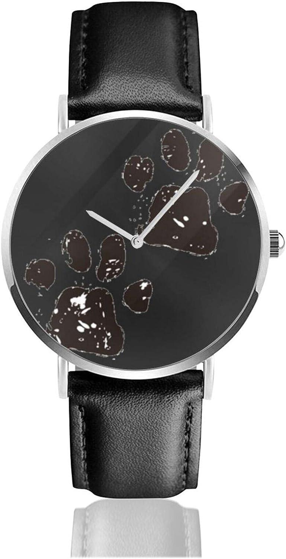 Relojes Anolog Negocio Cuarzo Cuero de PU Amable Relojes de Pulsera Wrist Watches Huella de Gato