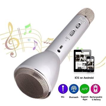 Micrófono Inalámbrico Portátil Bluetooth 3.0 Altavoz Incorporado para Karaoke Batería de 1800mAh 3.5mm AUX Compatible con PC/ iPad/ iPhone/ Smartphone ...