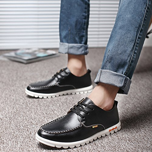 Summerwhisper Mens Trendy Low-top Comode Flats Driving Casual Shoes Tound Toe Lace-up Skate Sneakers Nere