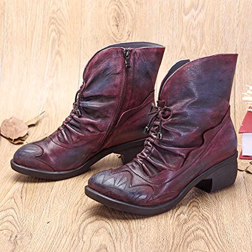 Boots Lace Bootie Shoes Oxford Boot Handmade Red Up Ankle Socofy Leather Ankle Women's Vintage T07wq