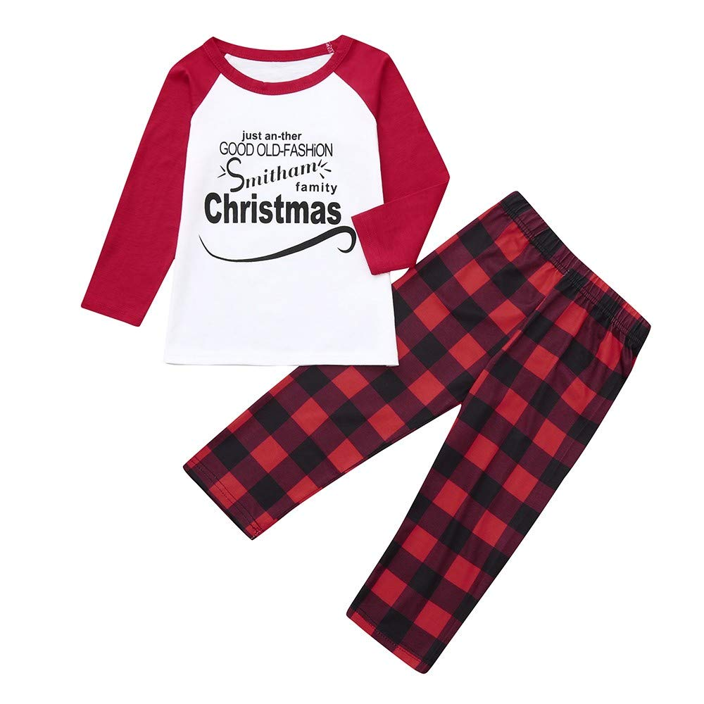 Kanhan Christmas Mommy&Daddy&Me Letter Tops+Plaid Pants Family Set Clothes Sleepwear Christmas Set XL, Men