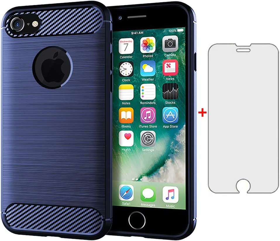 Phone Case for iPhone 6/6s Plus with Tempered Glass Screen Protector Cover Cell Accessories Slim Full Body Silicone iPhone6 6+ i 6a 6X 6plus 6s+ Six iPhone6+ 6splus iPhone6splus Cases Women Men
