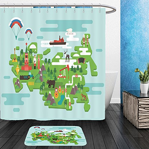 Vanfan Bathroom 2 Suits 1 Shower Curtains &  1 Floor Mats travel concept russia national symbols national costumes famous attractions of the country 475027204 From Bath room - Make Tintin Costume