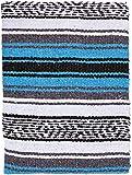 El Paso Designs Genuine Mexican Falsa Blanket - Yoga Studio Blanket, Colorful, Soft Woven Serape Imported from Mexico (Blue)