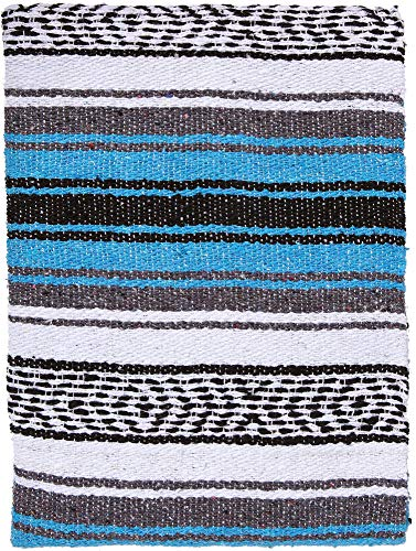 (El Paso Designs Genuine Mexican Falsa Blanket - Yoga Studio Blanket, Colorful, Soft Woven Serape Imported from Mexico (Turquoise))