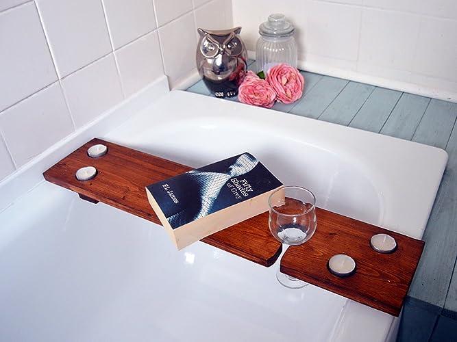 Wooden Bath Shelf, Rustic Bath Caddy, Bath Drinks Holder, Bath ...