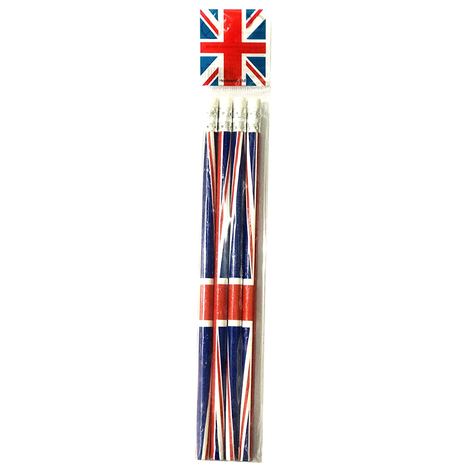 Kaybeck Stores pack of 16 Union Jack Pencils with Eraser Souvenir Collectable Henbrandt