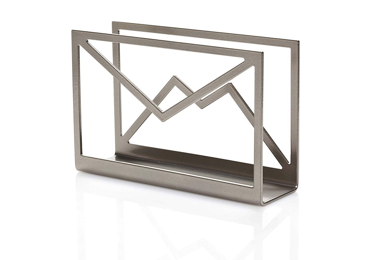 Artori Design | Inbox | Metal Paperwork Holder | Desk Letters Mail Organizer | Envelope Shaped Tray | Office Gift