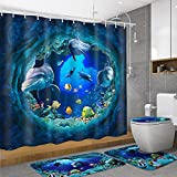 Bathroom Shower Curtains and Accessories dDanke Polyester PVC Blue Ocean Shower Curtain Lid Toilet Cover Bath Mat Rug with Hooks Bathroom Accessory Sets 180x180cm