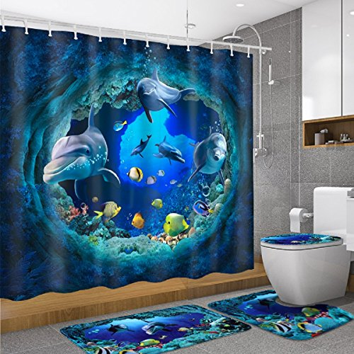 dDanke Polyester PVC Blue Ocean Shower Curtain Lid Toilet Cover Bath Mat Rug with Hooks Bathroom Accessory Sets 180x180cm (Shower Curtains And Bath Sets)
