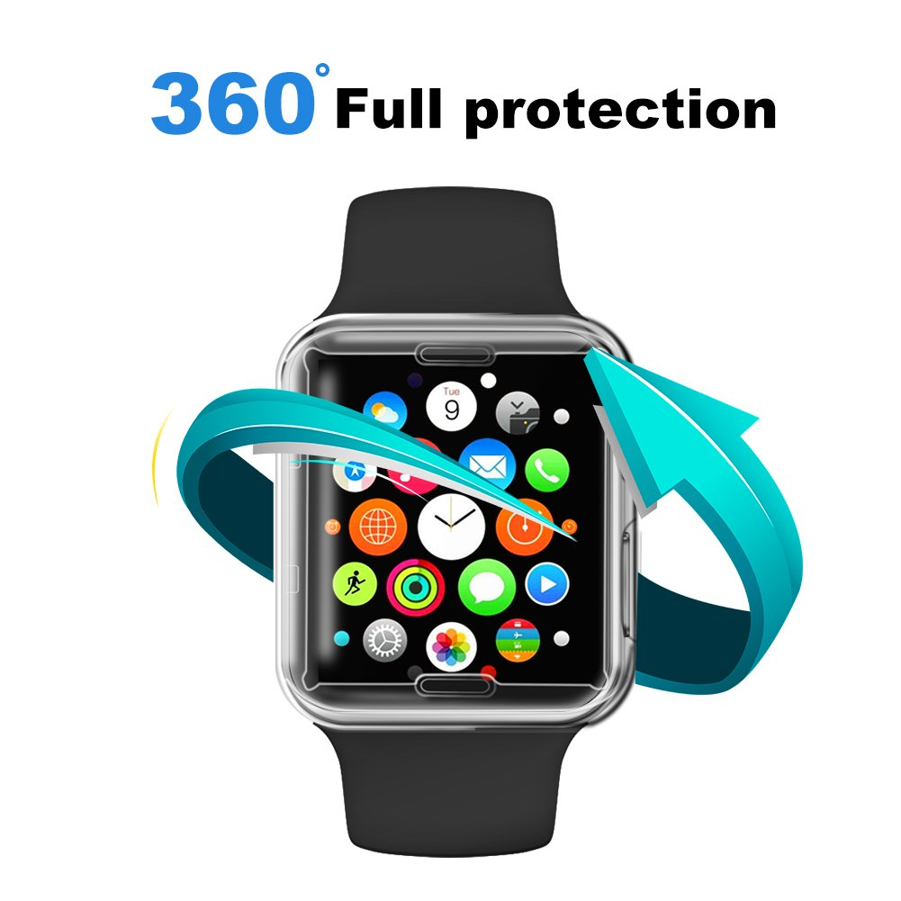 iWatch Series 2/3 TPU Screen Protector Case 38mm, [2-Pack] Apple Watch Screen Protector Ultra-Thin HD Clear Full Coverage Shockproof Protective Cover for iWatch 3 iWatch 2
