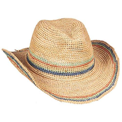 New Scala Western Crochet Organic Raffia Fashion Cowboy Hat LR679 (Light Pastels) ()
