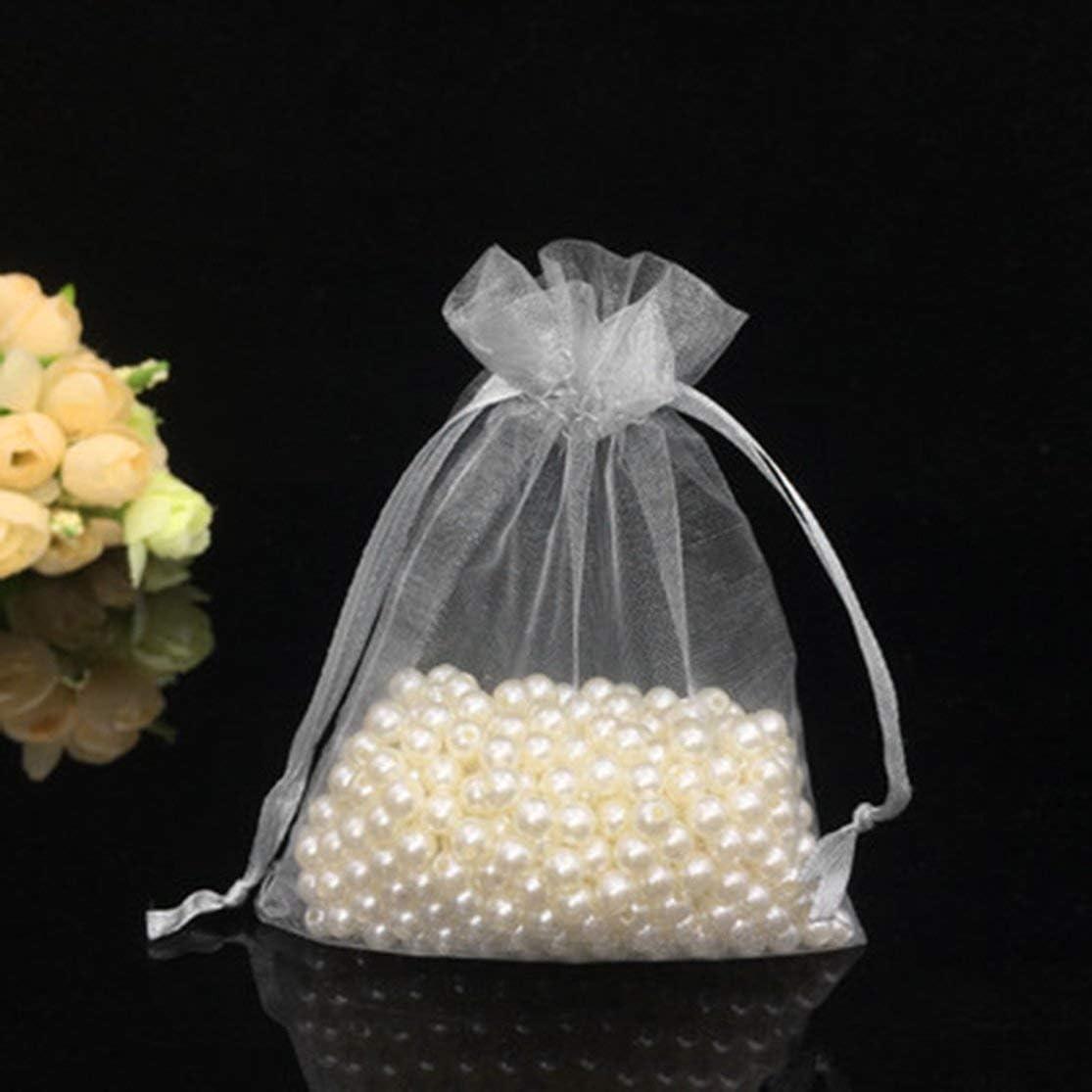100pcs lot Dessins Blanc Petits Organza Sacs 7x9cm Favor Mariage Cadeau De No/ël Sac Bijoux Emballage Sacs /& Pochettes D/écoration comme limage montre