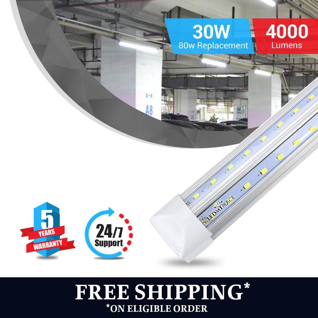 T8 4ft V shape led tube 30w Integrated 6500k clear 4000 lumens 50Pcs