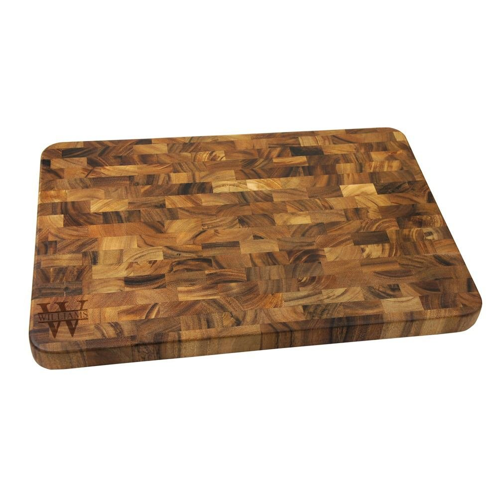 Personalized Acacia Wood Cutting Board | Biltmore Design | Custom Laser Engraved