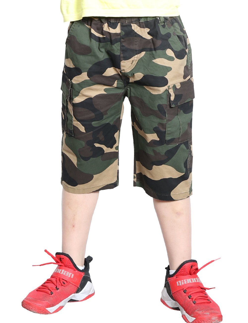 WIYOSHY Boys Camo Elastic Waist Pull On Jogger Chino Shorts for Kids 5-16 Years (Green, 160 (Size 14))
