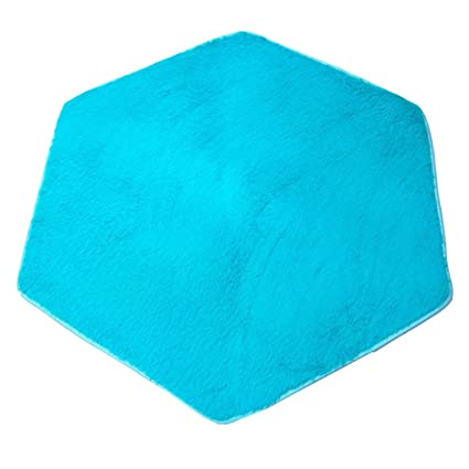 Homyl Alfombra de Tienda de Campaña Hexagonal Felpa Cojín de Playa Manta de Acampada Jardín Estera de Picnic Infantil Azul/Rosa 140x120cm