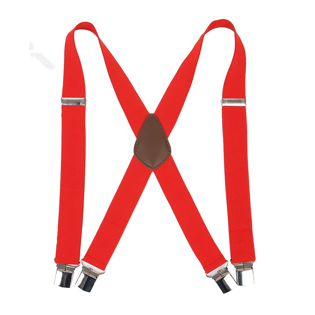 """Men' s X Back Suspenders with 4 Quality Controlled Clips & 1.4"""" Wide Braces & Heavy Duty (Red)"""