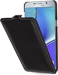 StilGut UltraSlim Case, Custodia in Pelle per Samsung Galaxy Note 5, Nero