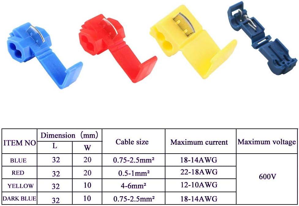 AWG 18-14 50 x Conectores cable Rapidos roba corriente Scotch Lock 4 a 6mm.