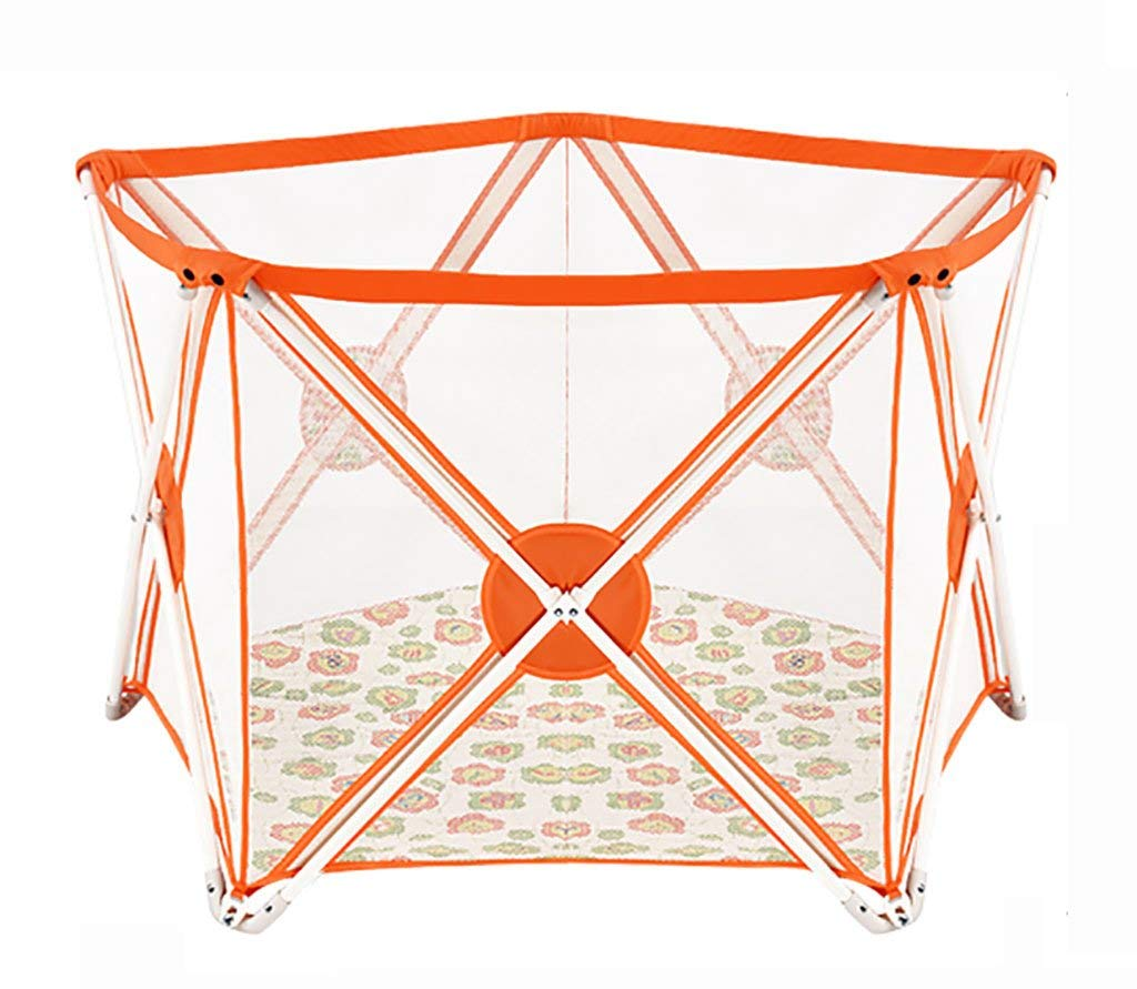 Baby Playpenアクティビティセンター、折りたたみ式&コンパクト、丈夫で耐久性のある屋内屋外用ペン、セーフティプレイセンターヤード(カラー:オレンジ、サイズ:パッド付き)   B07SSZQ24G