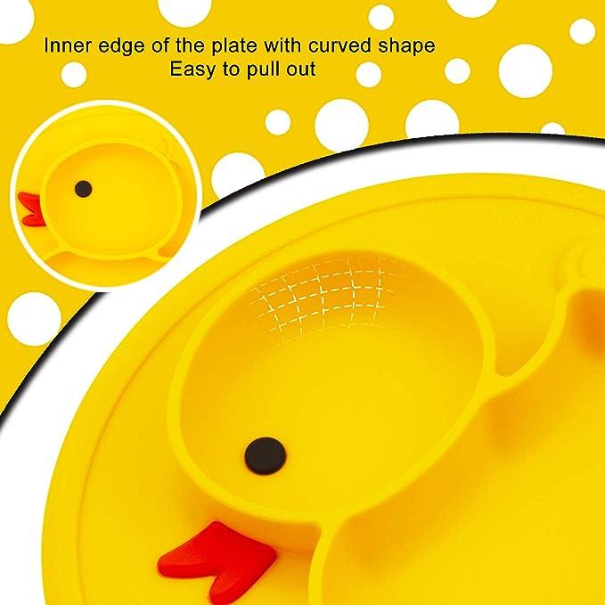 Kidoo Plato de Silicona para beb/é con Ventosa Antideslizante Modelo Unicornio Apto para microondas y lavavajillas