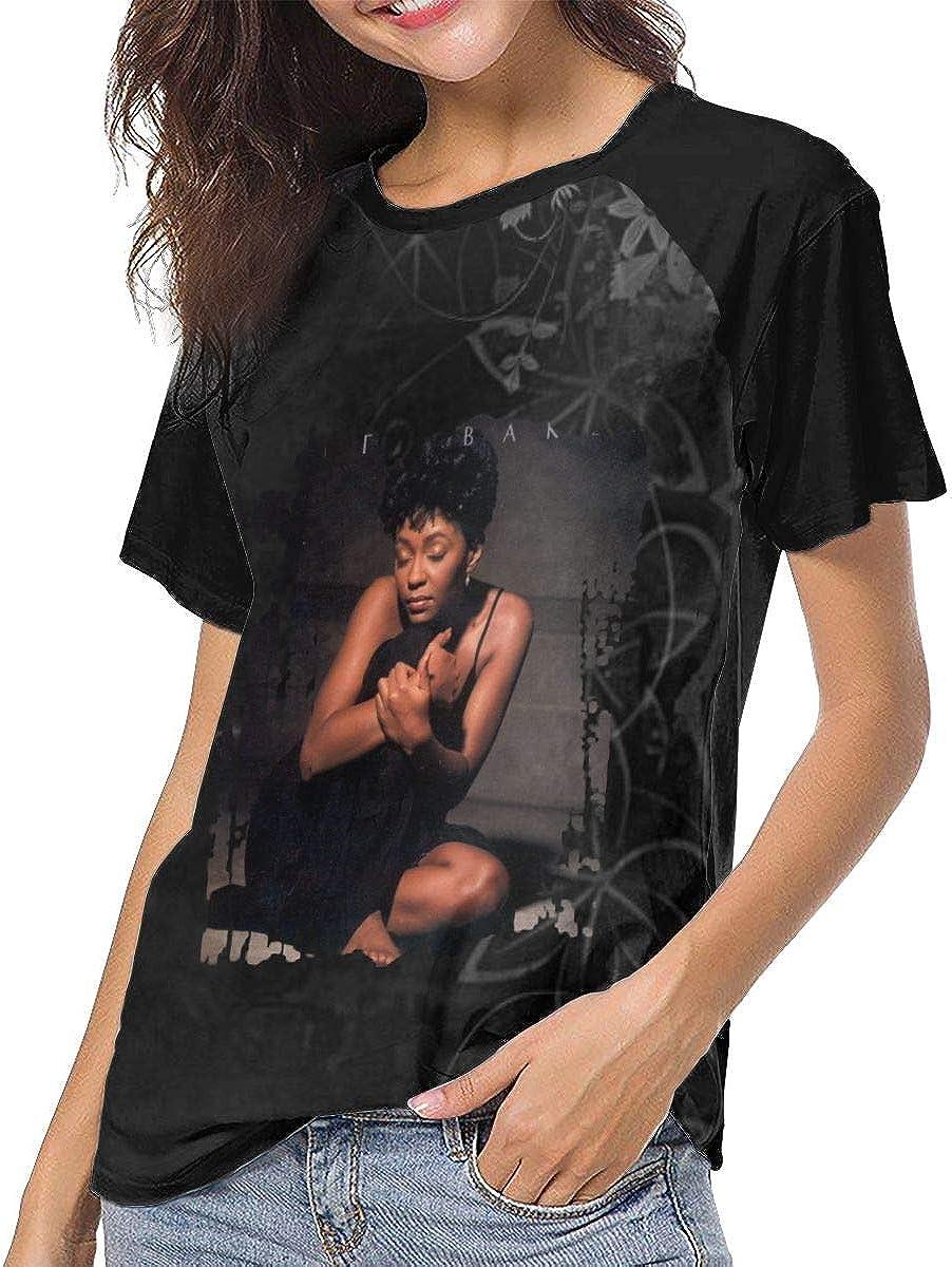 Mabb Anita Baker Rapture Womens Short Sleeve Raglan Baseball T Shirt Black